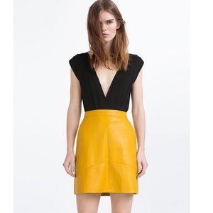 Zara faux leather yellow skirt